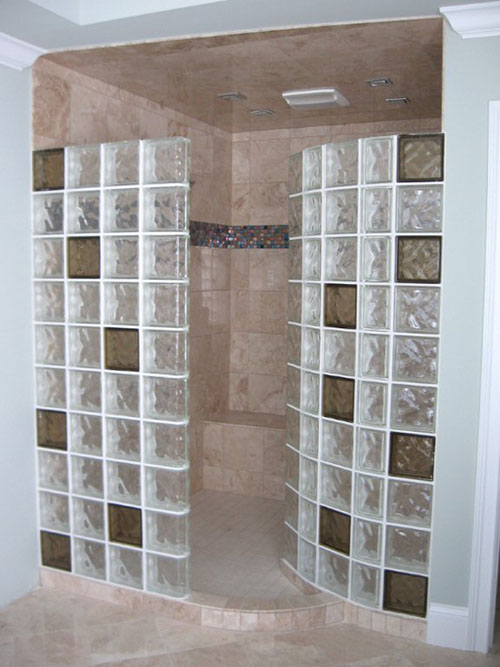 Colored Glass Blocks For A Doorless Walk In Shower