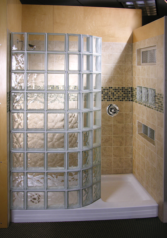 Glass block showers in st louis doorless shower wedi shower systems