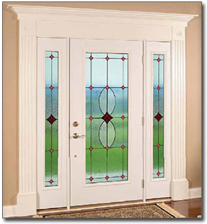 art glass doors and stained glass side windows in st louis