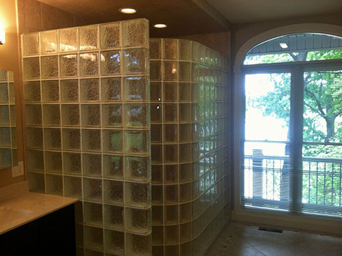 glass block shower erected 500