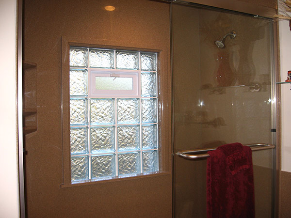 Glass block windows for the bathroom and shower in st louis for Glass block window frame