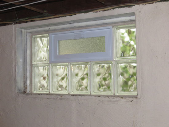 Glass block basement window in st louis basement security windows