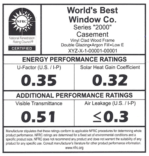 Questions about window energy performance for Best value replacement windows