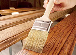 staining with brush